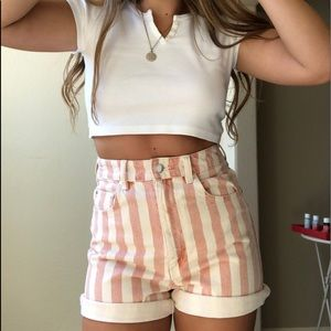Zara Shorts - Pink and White Vertical Stripped Zara Denim Shorts